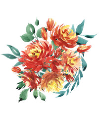Flowers watercolor illustration. A bouquet with a big red peony and small flowers in bright colors. Watercolor postcards composition.