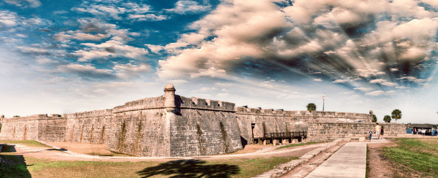 Panoramic sunset view of St Augustine medieval castle