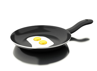 3d Frying pan with egg