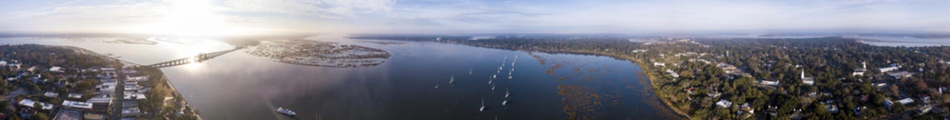 Aerial 360 degree panorama of Beaufort, South Carolina, USA.