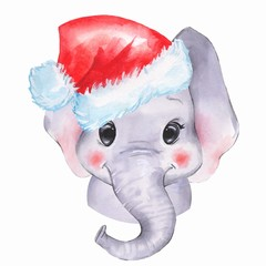 Watercolor elephant in Santa hat. Cute cartoon illustration, isolated on white background