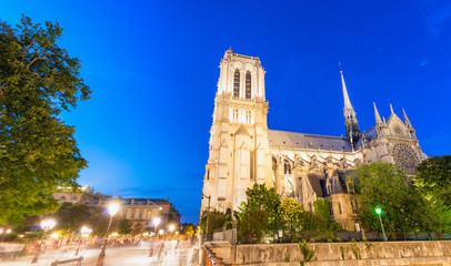 Amazing night colors of Notre Dame Cathedral, Paris - France