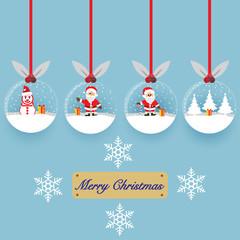 Set of Merry christmas glass ball collection. Vector illustration