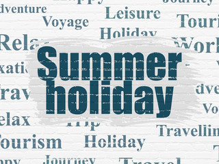 Vacation concept: Painted blue text Summer Holiday on White Brick wall background with  Tag Cloud