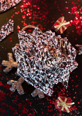 chocolate peppermint bark Christmas candy top view