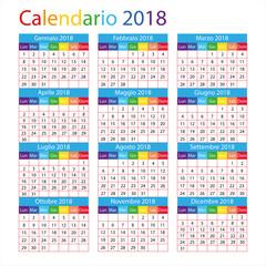 calendario italiano per il 2018 con i giorni festivi