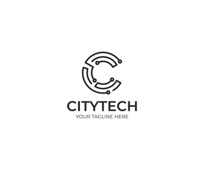 Tech Letter C Logo Template. Information Technology Vector Design. Electronic Illustration