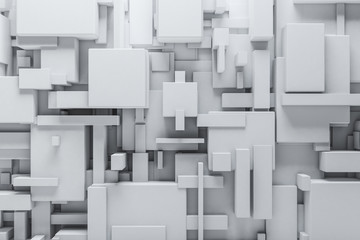Abstract White blocks background. Grunge surface, 3d rendering