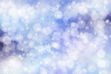 Winter Abstract Snowflake Background in Blue.