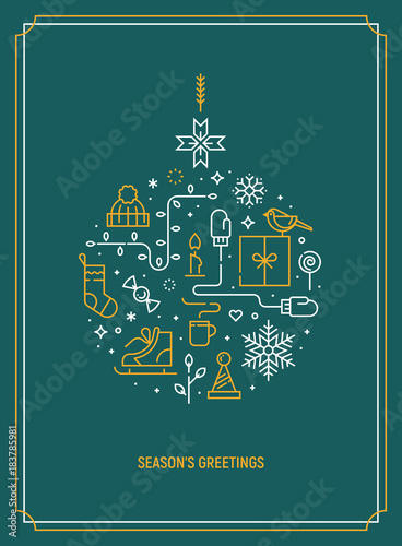 Christmas template for greeting card banner or party invitation christmas template for greeting card banner or party invitation christmas ball consisting of xmas m4hsunfo