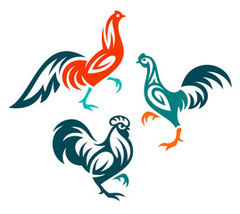 Stylized Birds - Roosters