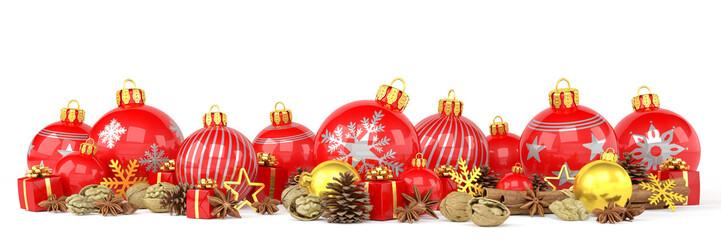 Weihnachten - Weihnachtskugeln, Christbaumkugeln, Anis, Sternanis, Zimt, Zimtstangen, Walnüsse, Geschenke