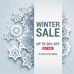 Snowflakes winter background sale