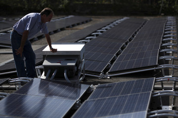 A man looks at solar panels set up by Tesla, at the San Juan Children's Hospital, after the island was hit by Hurricane Maria in September, in San Juan