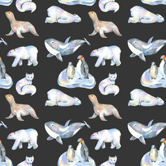 Watercolor cute polar animals illustrations seamless pattern, hand drawn isolated on a dark background