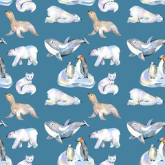 Watercolor cute polar animals illustrations seamless pattern, hand drawn isolated on a dark blue background