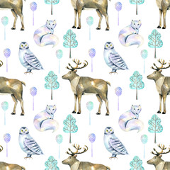 Watercolor polar deers, arctic foxes and owls in the forest seamless pattern, hand painted on a white background