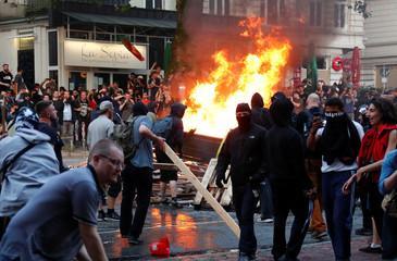 Protesters clash with the police during the protests at the G20 summit in Hamburg