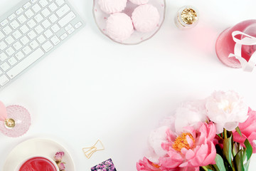 Feminine desk scene - pink, gold flatlay with peonies