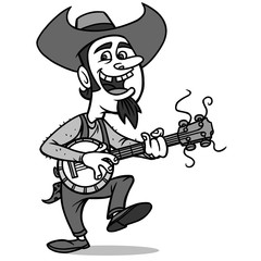 Bluegrass Bill Illustration - A vector illustration of a cartoon Bluegrass musician.
