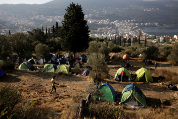 View of makeshift camp for refugees and migrants on the Greek island of Samos