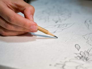 Woman's hand holding a pencil and drawing a flowers on watercolor paper