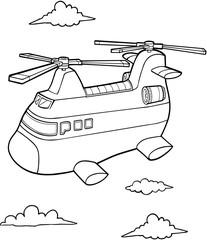 Poster Cartoon draw Big Helicopter Vector Illustration Art
