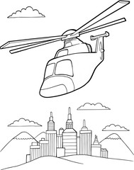 Tuinposter Cartoon draw Helicopter Vector Illustration Art