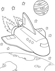 Photo sur cadre textile Cartoon draw Spaceshuttle Rocket Vector Illustration Art