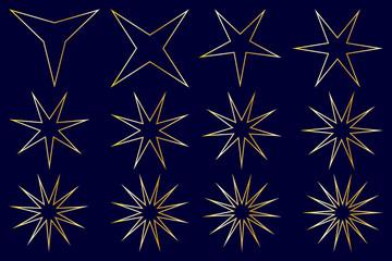 Star - vector set - gold on blue background