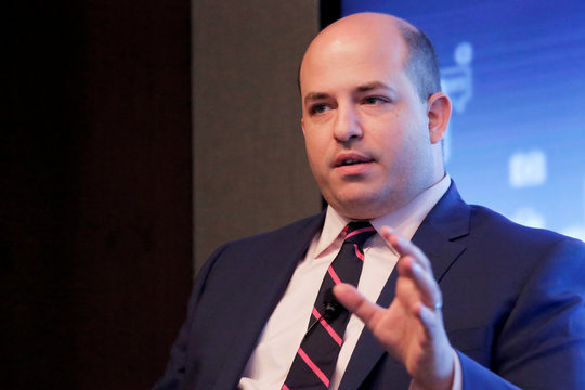 "CNN Reliable Sources Host and Senior Media Correspondent Brian Stelter speaks on the ""Trust, Truth and the Future of Journalism"" panel at the Media Literacy Week Kick-off event at the Thomson Reuters building in Manhattan, New York."
