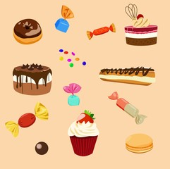 a set of cakes and sweets