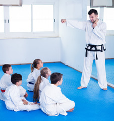 Man training new karate moves