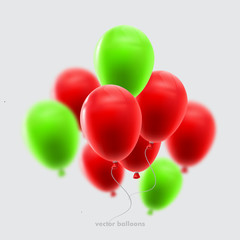 Realistic Colorful Balloons. Holiday illustration of flying glossy balloons. Vector Illustration