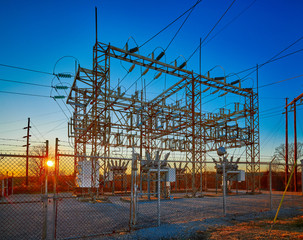 Electric Substation at Sunset
