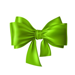 beautiful green realistic vector double gift bow