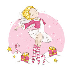 Beautiful little fairy. She's blonde. Princess dancing in a ballerina costume. She is wearing socks with a Christmas pattern  and a red cloak trimmed with fur. Vector on white background.
