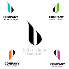 set letter logo simple design. p + b + d + q