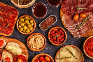 Typical spanish tapas concept.