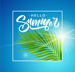 Summer poster with tropical palm leaf . Vector illustration