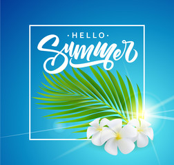 Summer poster with tropical palm leaf and flowers . Vector illustration