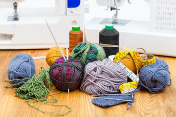 knitting materials, threads and sewing machines