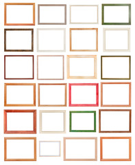 various modern wooden picture frames isolated
