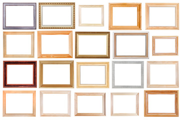 set of wide wooden picture frames isolated