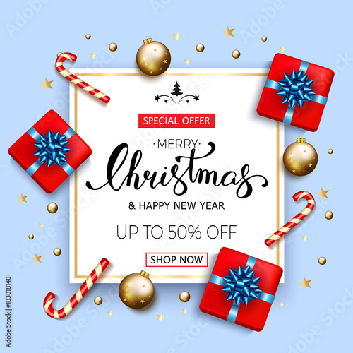 Merry Christmas Sale Banner With Gift Boxes With Blue Bow Candy