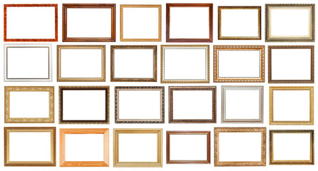 set of vintage wide wooden picture frames isolated