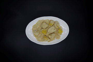 A photo illustration shows corn powder based rice cakes in Seoul