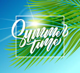 Summer poster with tropical palm leaf. Vector illustration