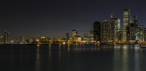 Part of the Chicago skyline at night