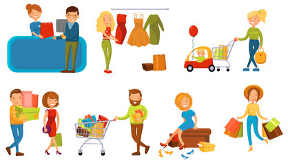 Various people shopping in a mall set, smiling women and man with gift boxes, paper bags and carts cartoon vector illustration